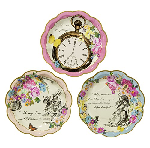 Talking Tables TSALICE Alice In Wonderland Paper Plates Mad Hatter Tea Party, Small, Mixed colors -