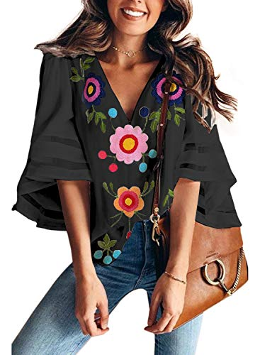 AlvaQ Women Sexy V Neck Floral Printed Shirts 3/4 Bell Sleeve Casual Loose Top Blouses Black Small