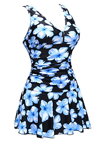 COCOPEAR Women's shaping body One Piece swimdress printed skirted puls size Swimsuit(FBA),X-Large / 16-18,Black Blue Floral (Dresses Women For Older)