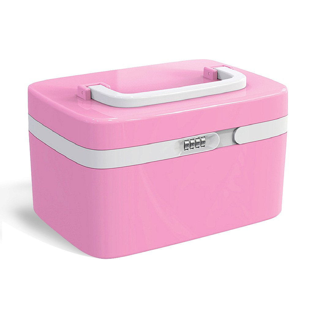 Makeup Organizer Box Girly Pink Cosmetic Jewelry Organizer with Combination Lock and Compartments