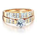 Wellingsale Ladies Solid 14k Yellow Gold Polished CZ Cubic Zirconia Round Cut Engagement Ring, and Matching Band 2 Piece Matching Bridal Set - Size 8