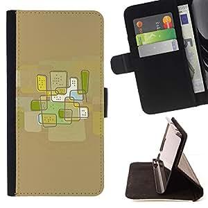 Momo Phone Case / Flip Funda de Cuero Case Cover - Ciudad del arte abstracto de Brown - Samsung Galaxy J1 J100