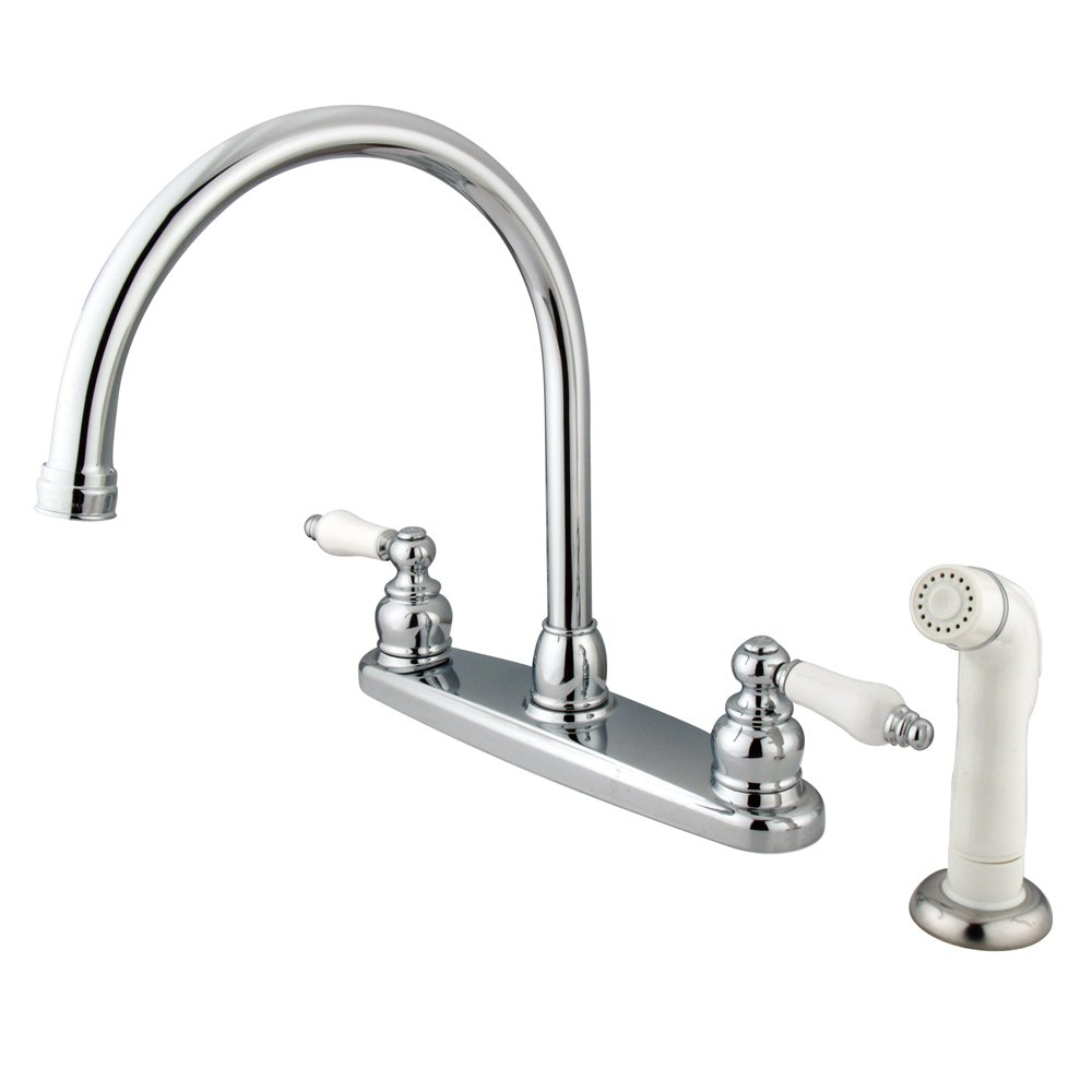 Kingston Brass KB721 Victorian Gooseneck Kitchen Faucet with OAK and Porcelain Handle, 8-3 4-Inch, Polished Chrome