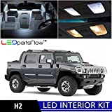 LEDpartsNow Hummer H2 2003-2009 Xenon White Premium LED Interior Lights Package Kit (15 Pieces)
