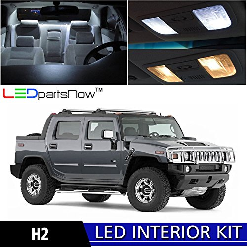 LEDpartsNow 2003-2009 Hummer H2 LED Interior Lights Accessories Replacement Package Kit (15 Pieces), WHITE (Hummer H2 Parts)