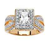 Emerald-Cut White Cubic Zirconia 18k Gold over .925 Sterling Silver Milgrain Double Shank Ring