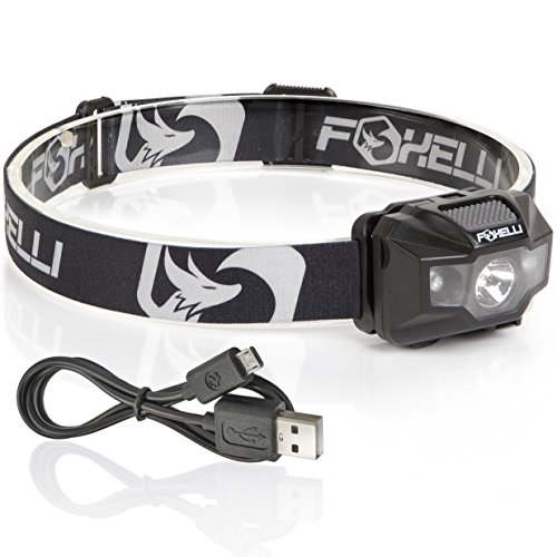 Foxelli USB Rechargeable Headlamp Flashlight – 180 Lumen, up to 40 Hours of Constant Light on a Single Charge, Bright White Led + Red Light, Compact, Easy to Use, Lightweight & Comfortable Headlight