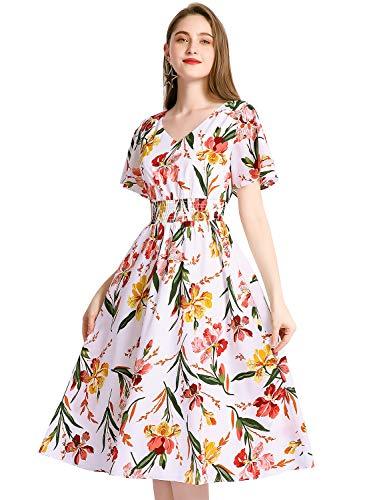 Gardenwed Floral Print Chiffon Summer Dresses for Women Flowy Midi Sundress Bohemian Beach Party Dress White Little Flower L