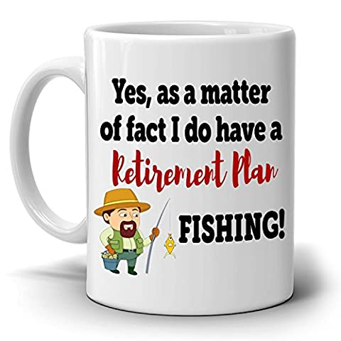 Funny Fishing Retirement Plan Retired Gifts Mug for Retiree, Printed on Both Sides! - Breakfast Gift Bucket