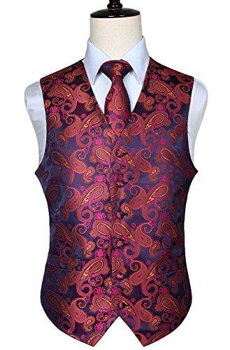 Floral Silk Coat (HISDERN Men's Paisley Floral Jacquard Waistcoat & Neck Tie and Pocket Square Vest Suit Set)