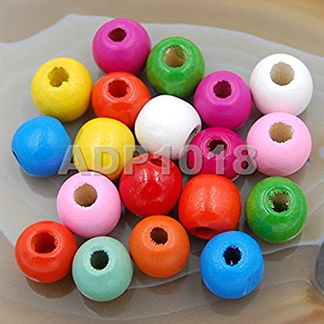 Round Craft Christmas Wooden Beads 10mm x 100 Red Green and White Mixed
