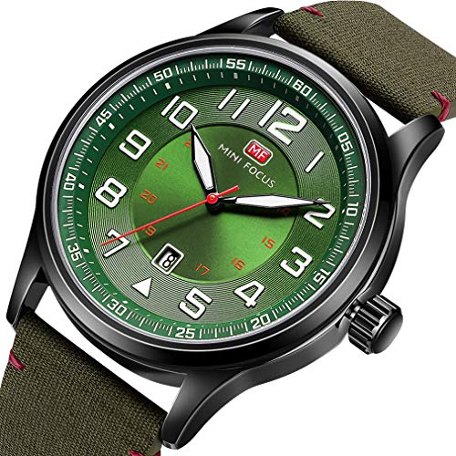 24 Hour Markers Student Watch Easy to Read Dial Second Hand Military Time for Doctors Nurses Quartz Analog Watches (Green)