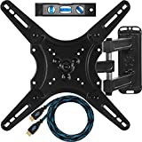 Cheetah Mounts ALAMLB Articulating (20 Inch Ext) TV and Monitor Wall Mount For 20-55 Inch LCD LED Plasma Flat Screens Up To VESA 400x400 With Full Ballhead Tilt, Swivel, Rotation, 10 Foot Twisted Veins HDMI Cable and Bubble Level