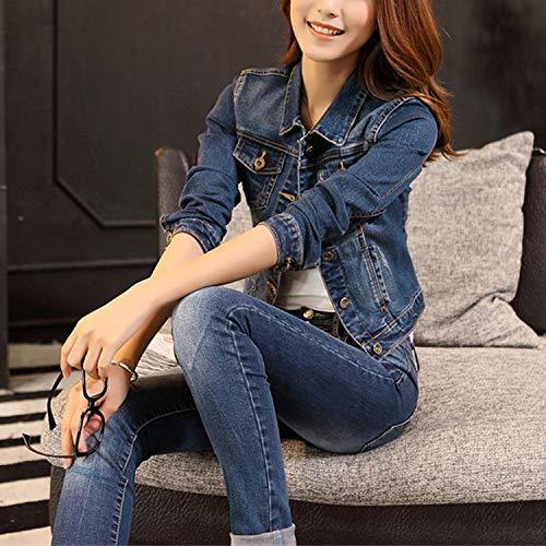 Blue Giacca Capispalla Cappotto Di Donne Coreano Cappotti Manica Corto Mujer Comradesn Donna E Jeans Lunga Casual Abrigos Giacche Autunno Da qwHvHg1