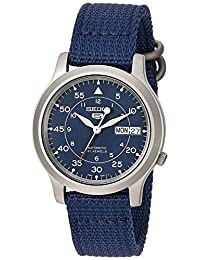 Seiko Men's SNK807 5 Automatic Stainless Steel Watch with Blue Canvas Band