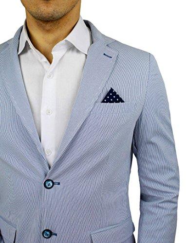 Uomo Giacca Uomo Sartoriale Bianco Blu Fantasia Micro Righe
