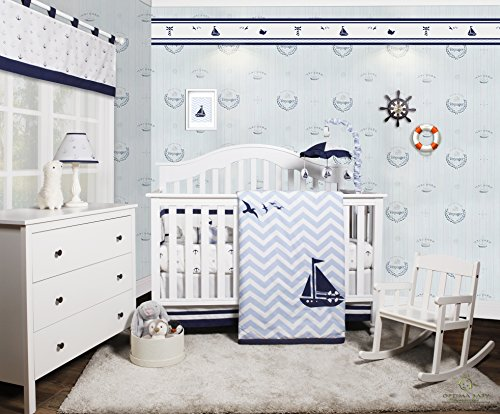 GEENNY OptimaBaby Nautical Explorer Sailor 6 Piece Baby Nursery Crib Bedding Set - Kid Nursery Bedding Set