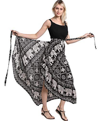 (ForeMode Women Long Bohemian Hippie Skirt Boho Dresses Elephant One Size Asymmetric Hem)