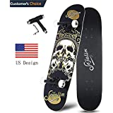 "Sefulim 31""x8"" Pro Complete Skateboard Skull Skateboard with Skate Tool Set for Kids, Boys, Girls, Youths, Beginners."