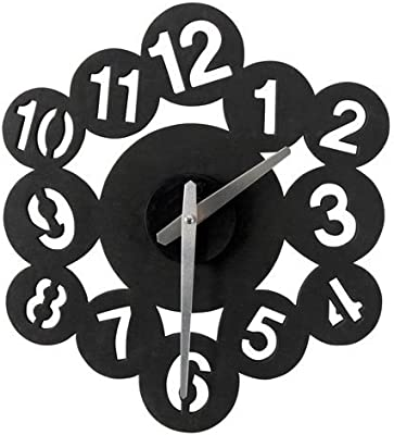 Grande y moderno, contemporáneo, negro, blanco bricolaje digital, reloj de pared