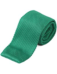 Mens Vintage Casual Solid and Pattern Waffle Knit Woven Square End Neck Tie
