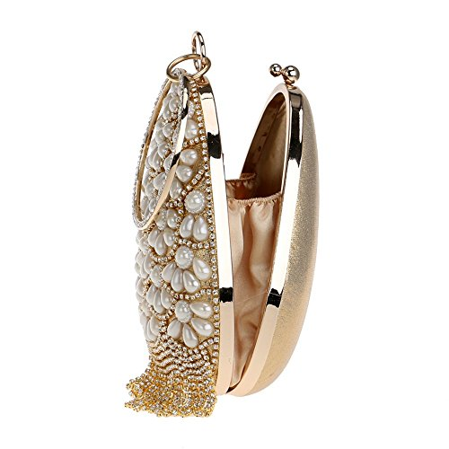 Bucket With Beaded Tassel Wedding Bags Shaped gold Pearl Fruit TuTu Diamonds Rhinestones Evening Lady Women Clutch Handbags gwCqYS5