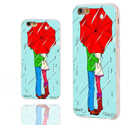 iPhone 6s Case,iPhone 6 Case,Case for iPhone 6 6s 4.7 Inch,ChiChiC [Cute Series] Full Protective Slim Flexible Durable Soft TPU Cases, romantic Young couple kissing under an red umbrella in the rain