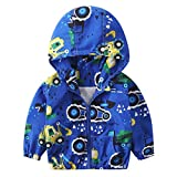 1-6T Kids Baby Autumn Hooded Coat Fashion Cartoon Excavator Zipper Pocket Outerwear Jacket Windbreaker Trench Tops (Blue A, 6T(5-6 Years))