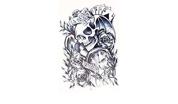 Amazon.com: HB049 Black Skull Rose Flower with Clock Temporary Body Back Tattoo Stickers