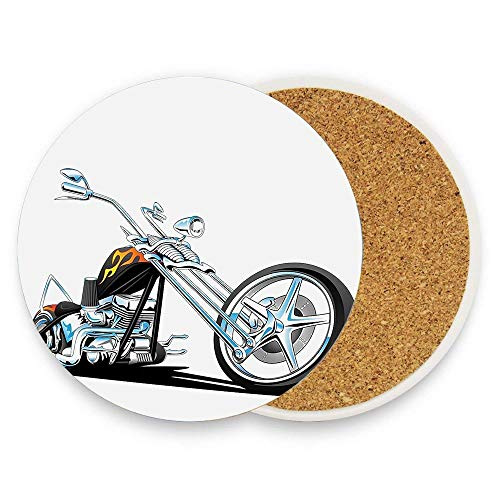 MichelleSmithred Manly American Chopper Motorcycle Competitions Traveling Tough Wild Cool Sport Ceramic Coaster Absorbent Stone Coaster for Coffee Mug Glass Cup Mat 1 Piece