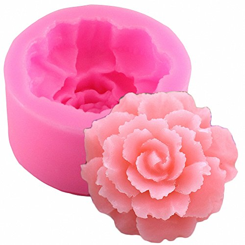 3D Carnation Candle Mold - MoldFun Carnation Flower Silicone Mold for Handmade Soap, Lotion Bar, Bath Bomb, Wax Crayon, Polymer Paper Fimo Clay, Art Craft Gift for Mother's Day (Silicone Candle)