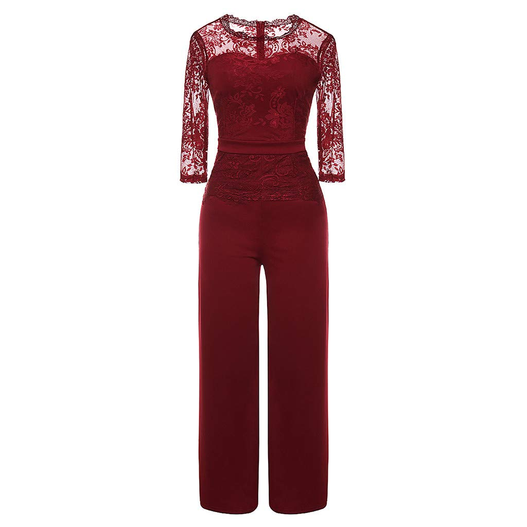 1e8b8017078 Amazon.com  Orangeskycn Women Jumpsuits Seven-Quarter Sleeve Party and  Evening Casual Lace Jumpsuit  Clothing