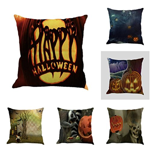 Gotd Vintage Halloween Pillow Covers Decorative Throw Pillow Case Cushion Pumpkin Happy Halloween Decorations Decor Clearance Indoor Outdoor Festive Party Supplies (Multicolor A) ()