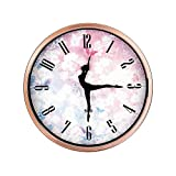 Color Map Dancing Clock,12 Inch Silent Non Ticking Quality Quartz Battery Operated Easy to Read Home/Office/School Clock, With Ballet Dancer Pointer And Rose Gold Metal Frame(Rose-gold)
