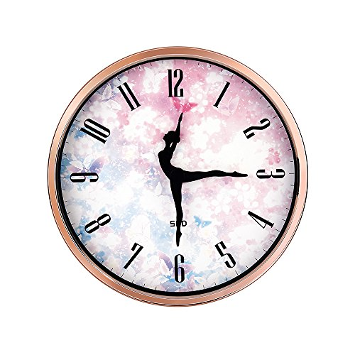 Color Map Dancing Clock,12 Inch Silent Non Ticking Quality Quartz Battery Operated Easy to Read Home/Office/School Clock, With Ballet Dancer Pointer And Rose Gold Metal - Ballerina Decor Room