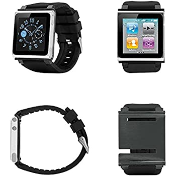 PiGGyB Classy Watch Band Case Cover Necklace Set for Apple iPod Nano 6 6th Generation (Black)