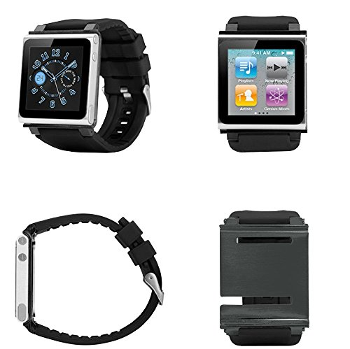 - PiGGyB Classy Watch Band Case Cover Necklace Set For Apple iPod Nano 6 6th Generation (Black)