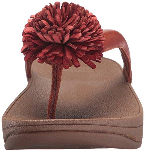 Donne Fitflop Cuoio Sfera Tallone Fiore Infradito Sandalo, Bianco, 35 M Eu Tan Scuro