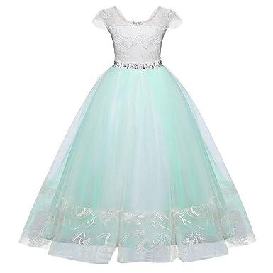 b77876c08b4 Amazon.com  KONFA Teen Girls Bridesmaid Floral Lace Backless Dress ...