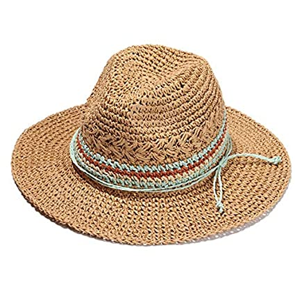 ALWLj Handmade Knitted Patchwork Straw Hat for Women Summer Hats Elegant  Ladies Wide Brim Floppy Foldable Beach Sun Hat Caps d6f2d85847b