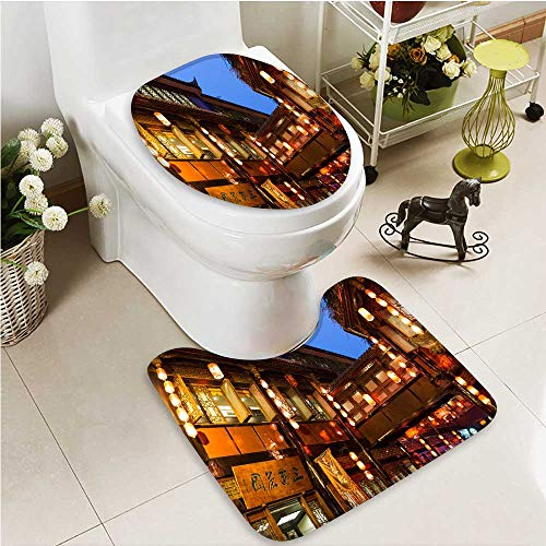 Printsonne Soft Toilet Rug 2 Pieces Set Night scene of Chengdu alley scenic spot Machine-Washable