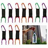 BmStar Portable Alloy Water Bottle Buckle Hook Holder Bottle Convenient Carrying Clip With D-Ring Hook For Camping Hiking Traveling With Emergency Aluminum Whistle, 10 Pcs