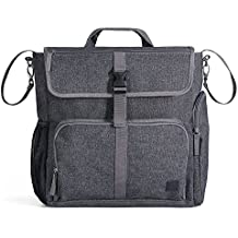 Diaper Dude Convertible Diaper Bag for MEN & DADS Tote Backpack Organizer Heavy Duty Messenger w/ Removable Changing Pad, Stroller Straps, MULTIPLE POCKETS and INSULATED Bottle Holder in Charcoal Grey