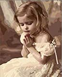 [ New Release ] Diy Oil Painting by Numbers, Paint by Number Kits - Little Girl Praying 16*20 inches - Digital Oil Painting Canvas Wall Art Artwork Landscape Paintings for Home Living Room Office Christmas Decor Decorations Gifts - Diy Paint by Numbers Diy Canvas Kit for Adults Advanced Children Seniors Junior - New Arrival - No. D270