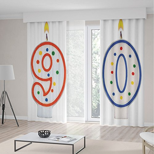 W300 Thermal (90th Birthday Decorations Decorations Curtains,Party Preparations Candles Number Ninety in Red and Blue,Living Room Bedroom Window Drapes 2 Panel Set,118 W 106 L,Red Blue White)