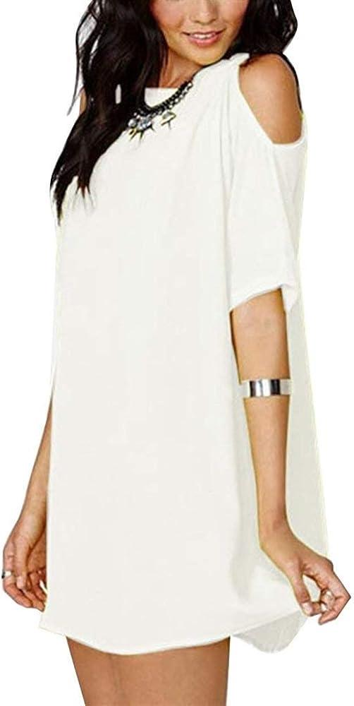 Vestido Playa Mujer Elegante Cortos Vestidos De Verano Manga Corta Cuello Redondo Sin Tirantes Anchos Unicolor Sencillos Moda Casual Camisetas Vestido Mini Vestido Vestidos De Camisa Estilo: Amazon.es: Ropa y accesorios