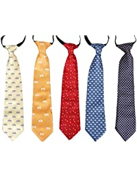 5 pc Boys Mixed Pattern Pre-Tied Elastic Fashion Necktie Sets