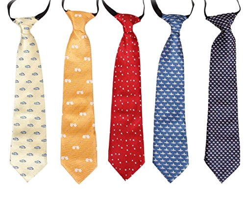 - Bundle Monster 5 pc Boys Mixed Pattern Pre-Tied Elastic Fashion Neckties - Set 1: On the Go