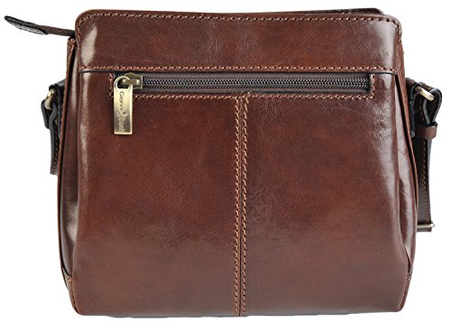 Three 9403124 Leather Gianni Small Conti Section amp; Red Crossbody Brown Italian Brown Black Handbag SwSx8qI