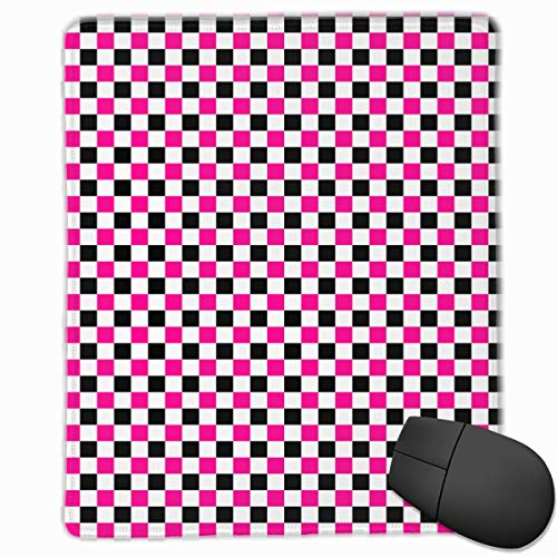 Gaming Mouse Pad Pink and Black Checkers Patterns Non-Slip Rubber Base for Computer Laptop 7 8.7 Inches (Beanie Baby Checkers)